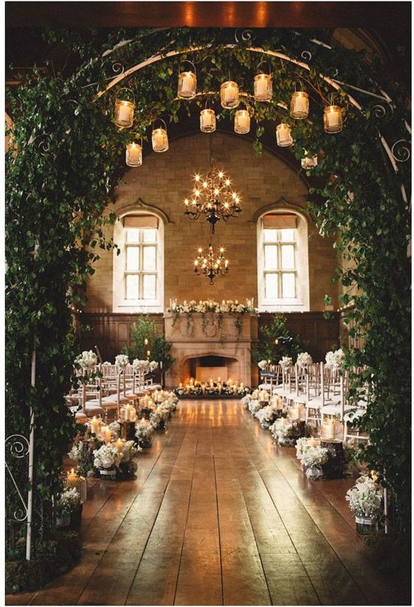 vintage wedding ceremony ideas with greenery and candles