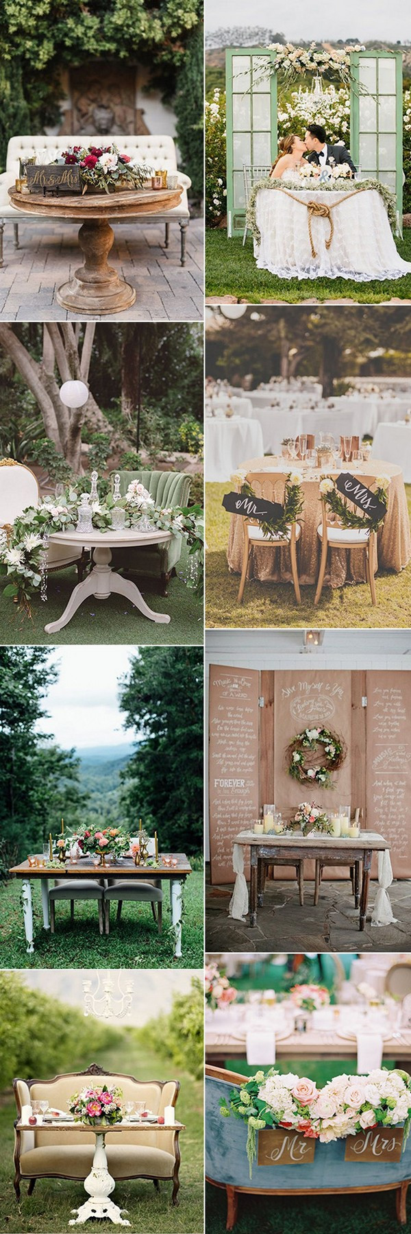 vintage wedding sweetheart table ideas