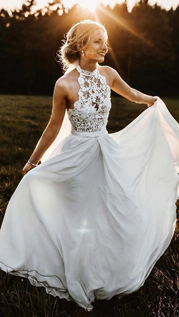 a line halter sleeves wedding dress