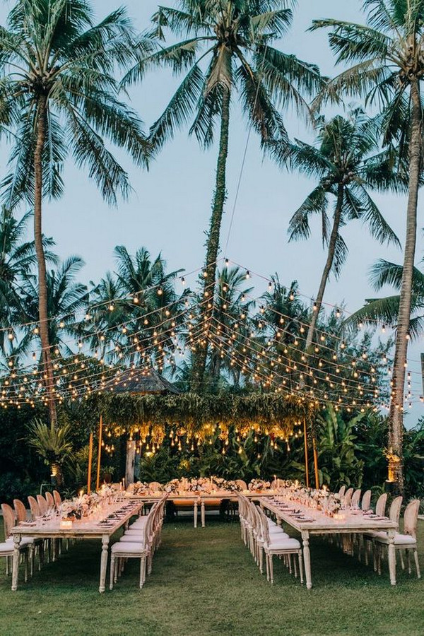 beach wedding reception ideas with string lights
