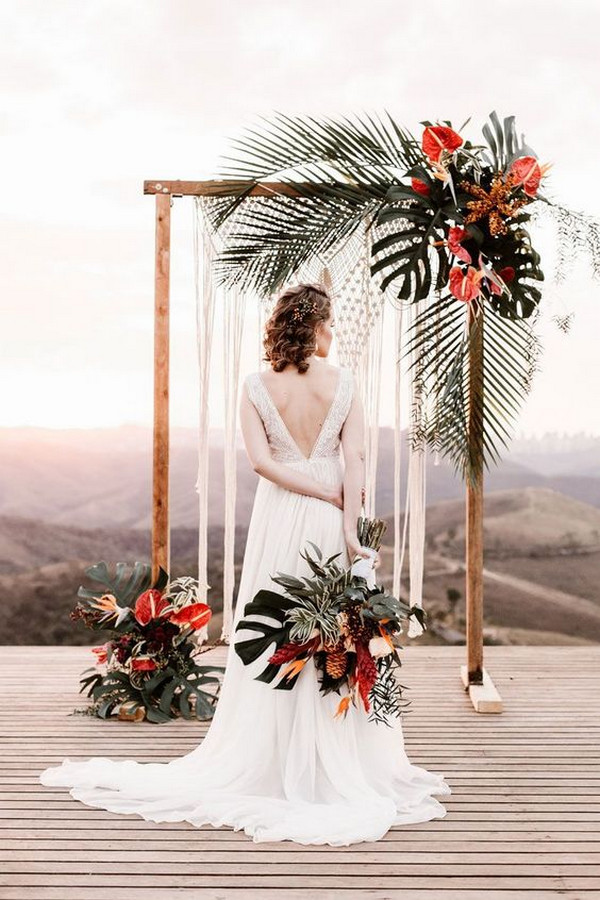 boho chic tropical wedding arch ideas