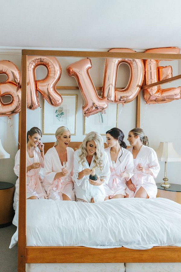 bridal party getting ready wedding photo