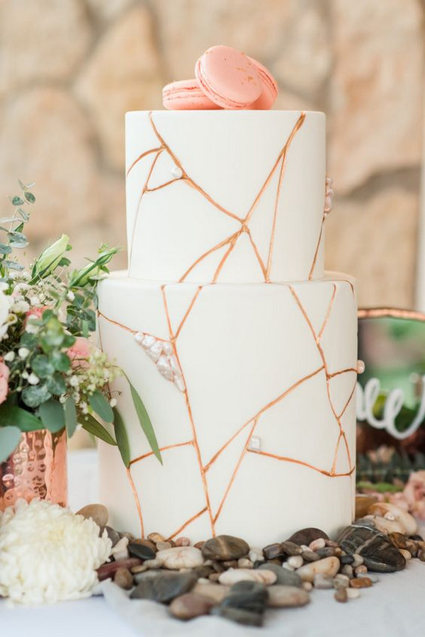 chic rose gold and white wedding cake