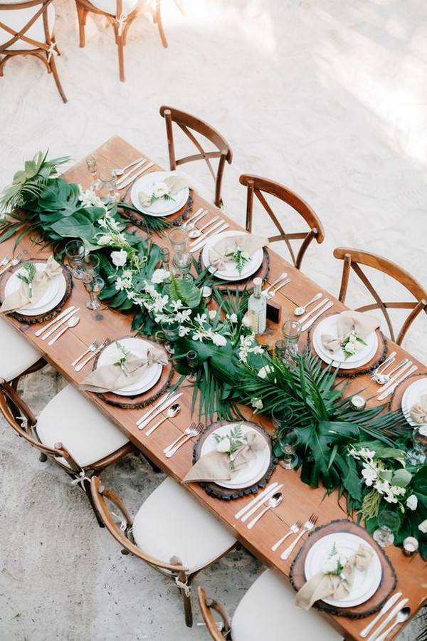 chic tropical greenery wedding centerpiece ideas