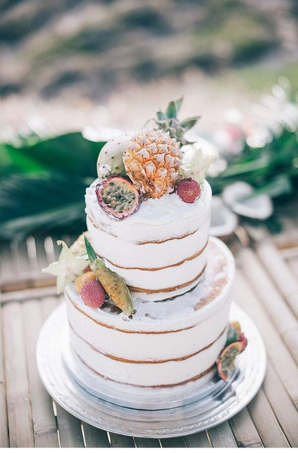 chic tropical wedding cake ideas