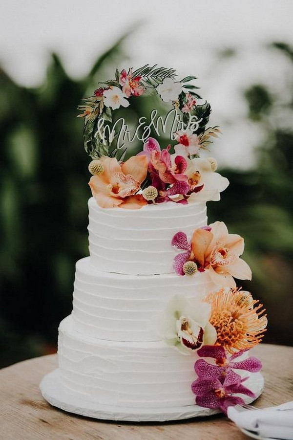 colorful tropical wedding cake ideas