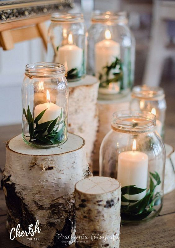diy wedding decoration ideas with candles and mason jars