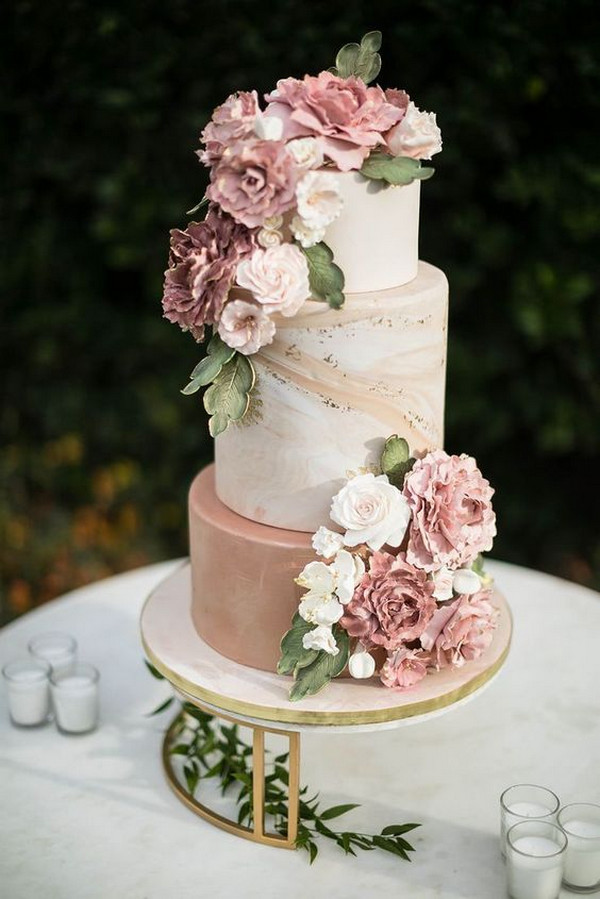 dusty rose and sage wedding cake