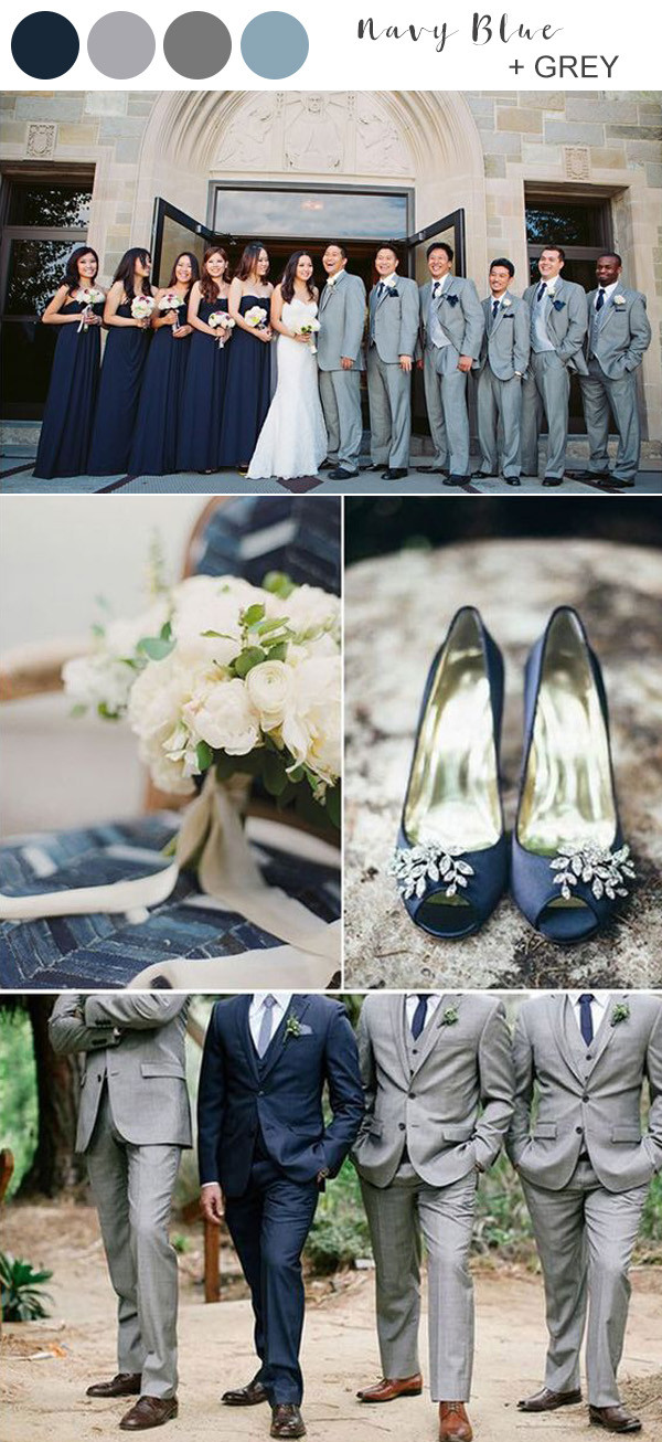 elegant navy blue and grey wedding color ideas