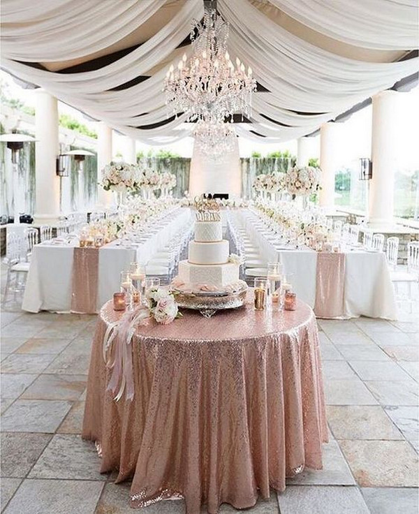 elegant rose gold wedding reception ideas