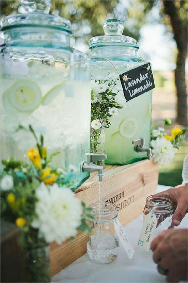 garden wedding drink station ideas