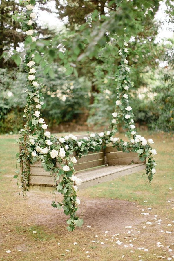 garden wedding ideas flower swing