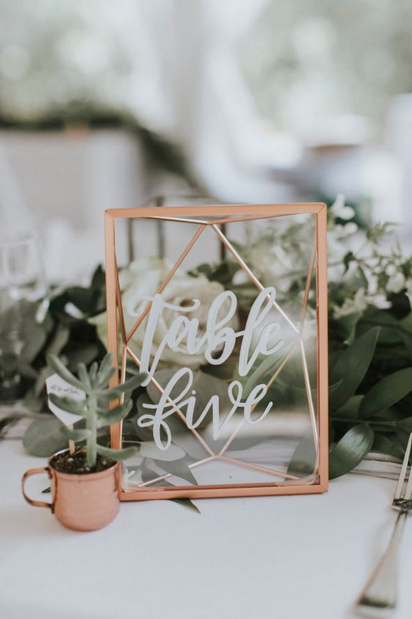 geometric rose gold wedding table number ideas