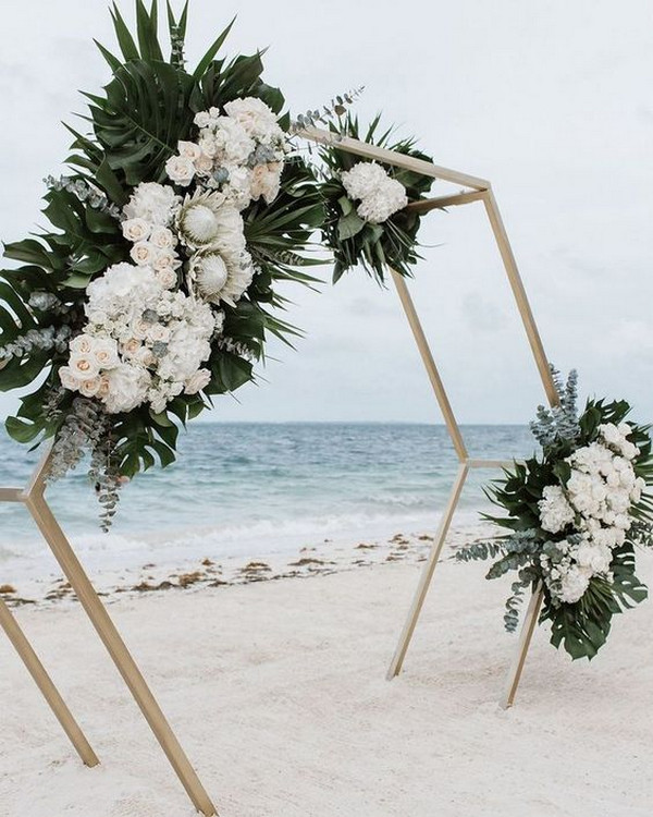 geometric tropical beach wedding backdrop ideas