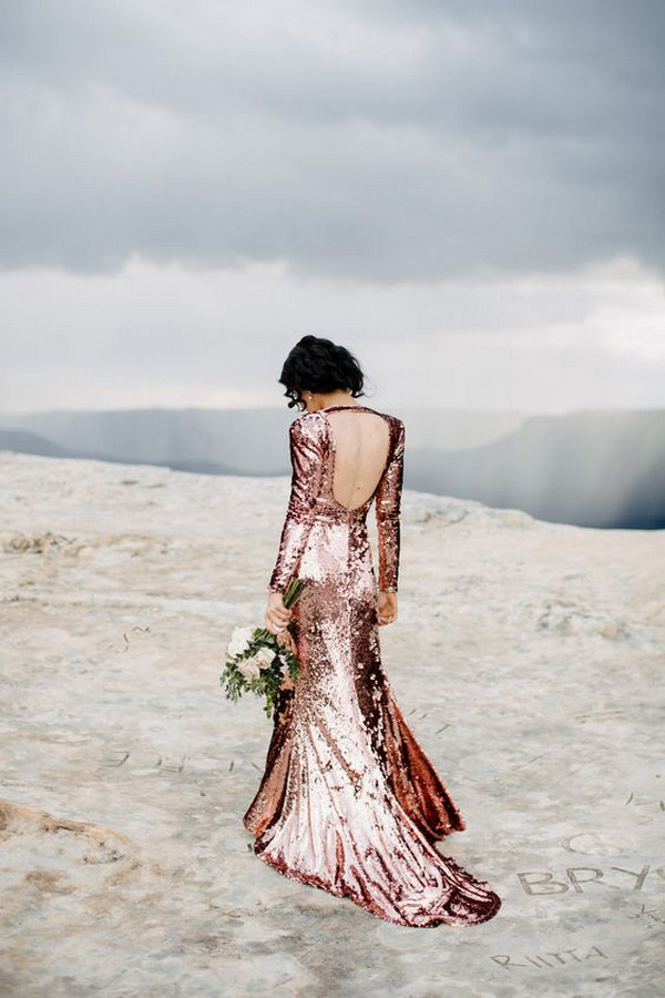 glitter rose gold sequins wedding dress
