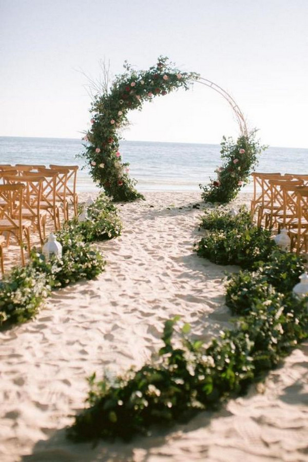 greenery beach wedding aisle and arch ideas
