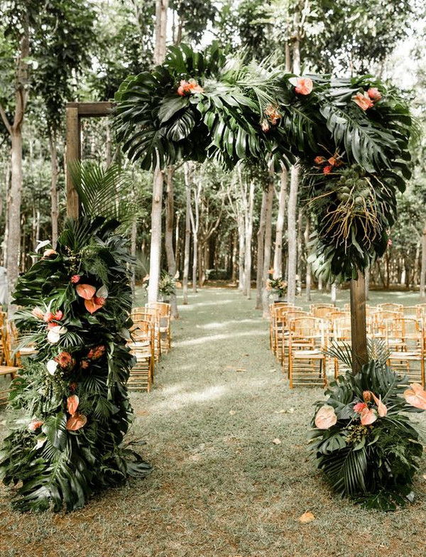 greenery tropical wedding ceremony ideas