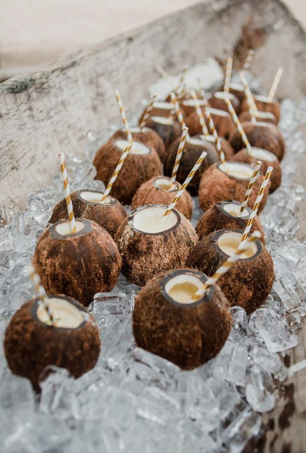 iced coconuts for tropical wedding ideas