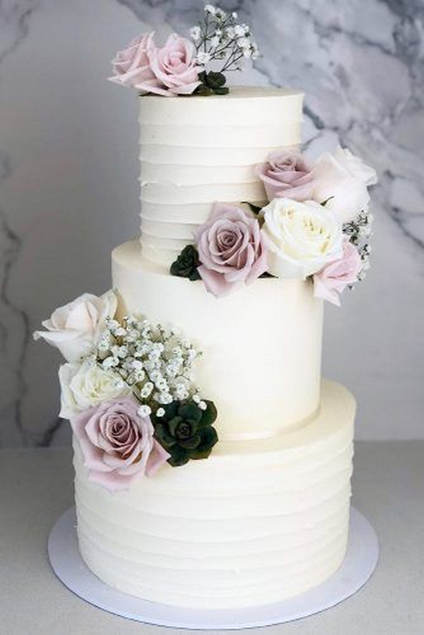 light mauve garden wedding cake