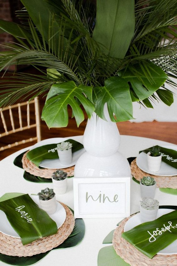 modern chic tropical wedding table ideas