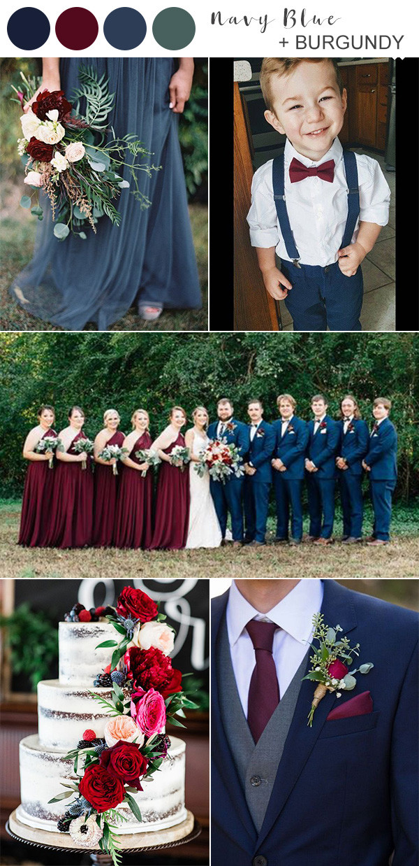 navy blue and burgundy wedding color ideas for 2020