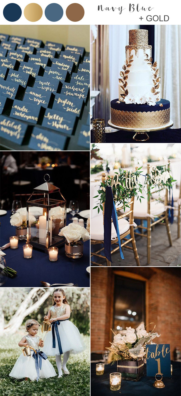 navy blue and gold fall wedding color ideas