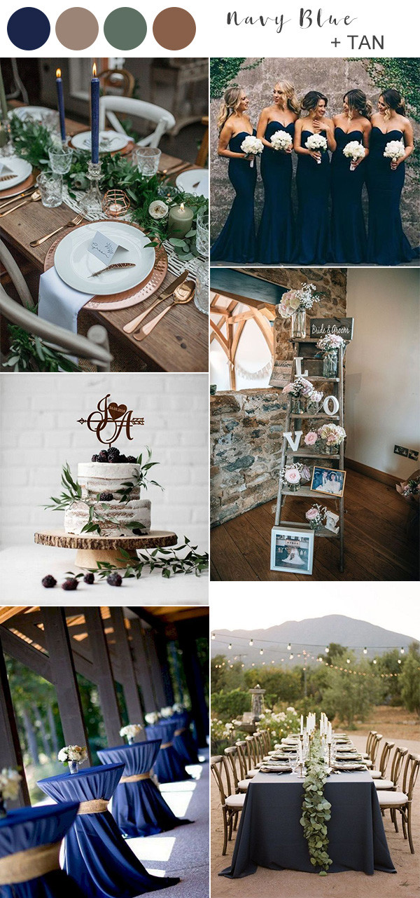 navy blue and tan rustic wedding color ideas