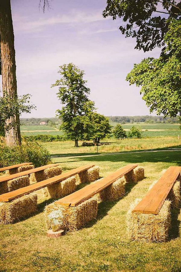 outdoor country wedding ceremony seating ideas