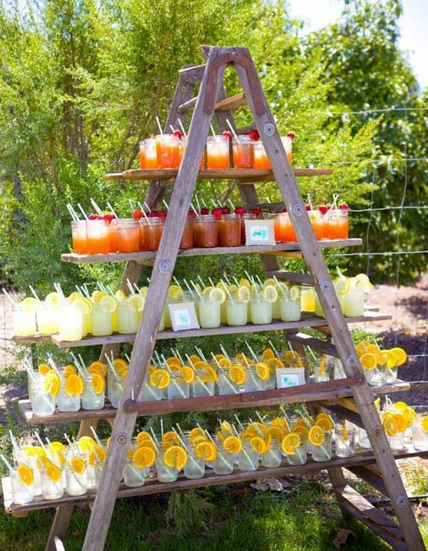 outdoor garden wedding drink station
