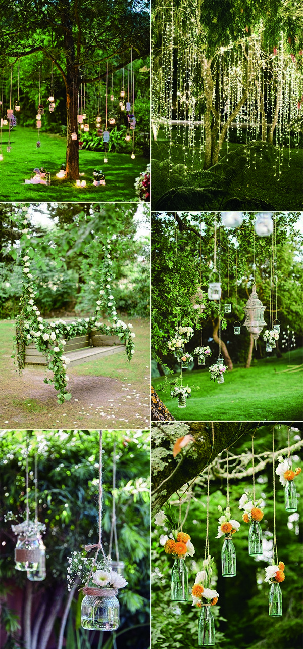 outdoor garden wedding hanging decoration ideas