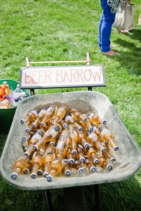 outdoor wedding drink station