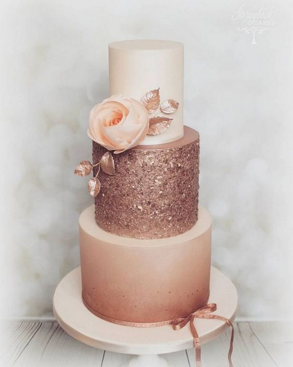 pretty rose gold wedding cake ideas