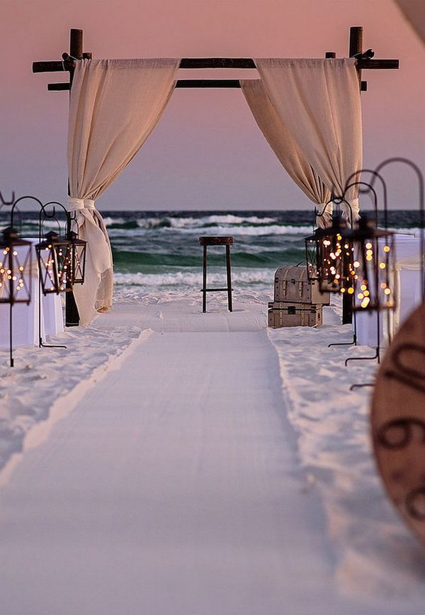 romantic beach wedding ceremony decoration ideas