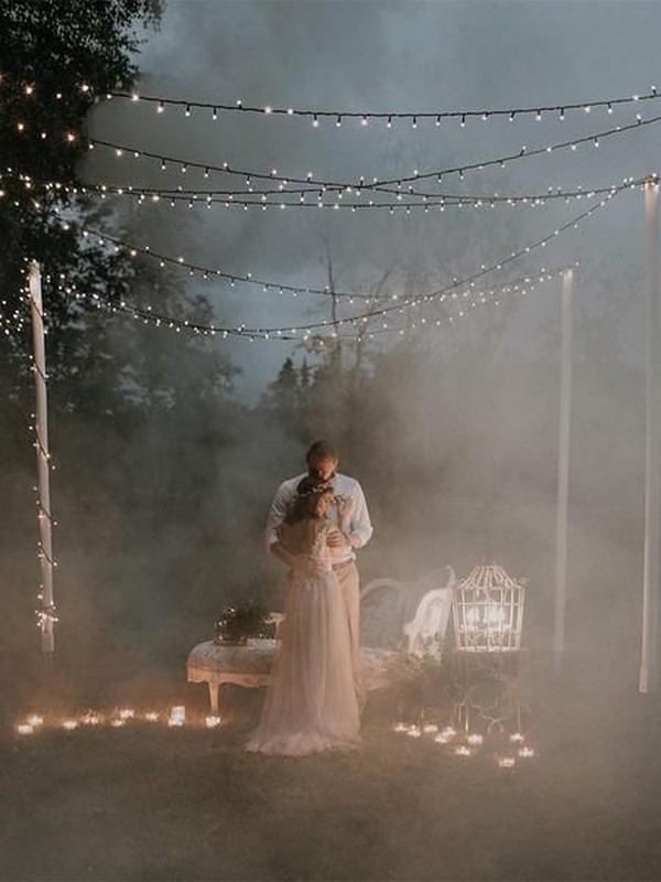 romantic boho night wedding photo
