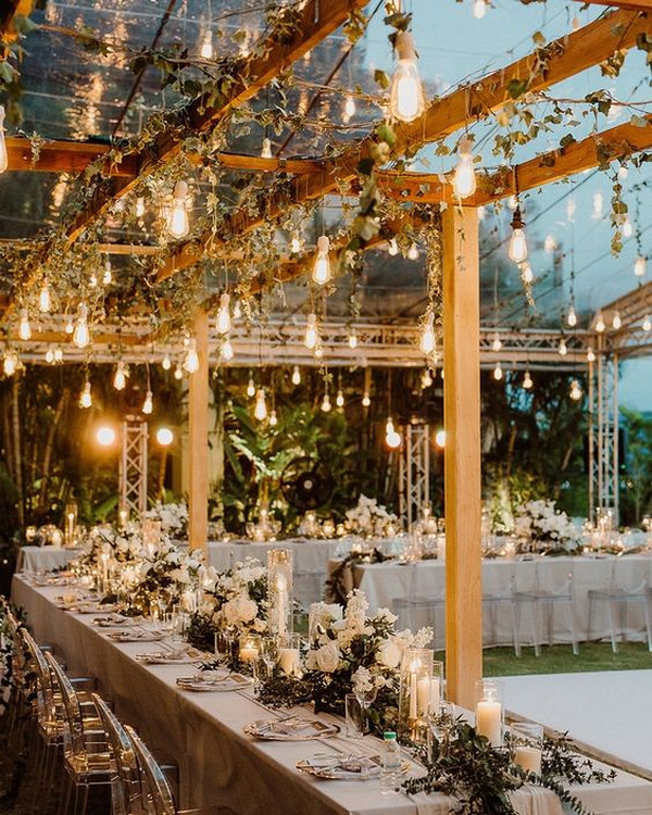 romantic outdoor wedding lighting decoration ideas