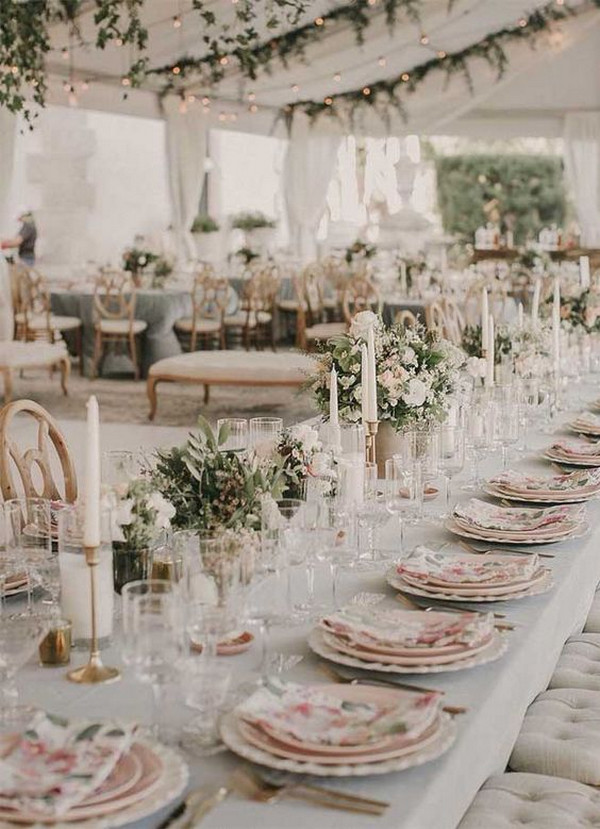 romantic pink and sage garden wedding reception ideas