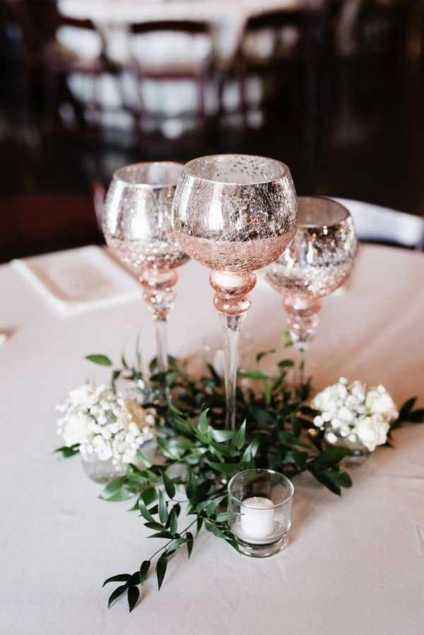 rose gold and greenery wedding centerpiece