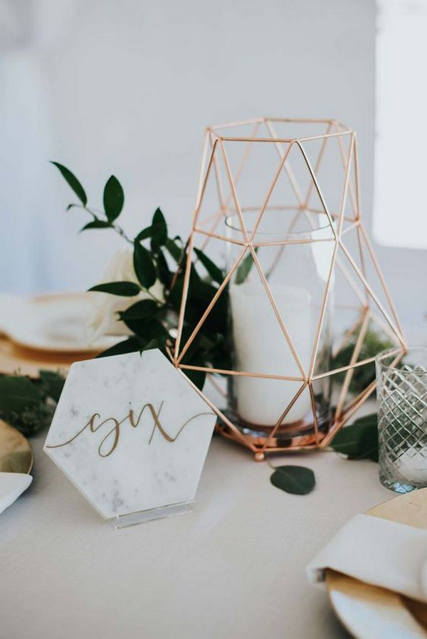 rose gold and sage wedding centerpiece