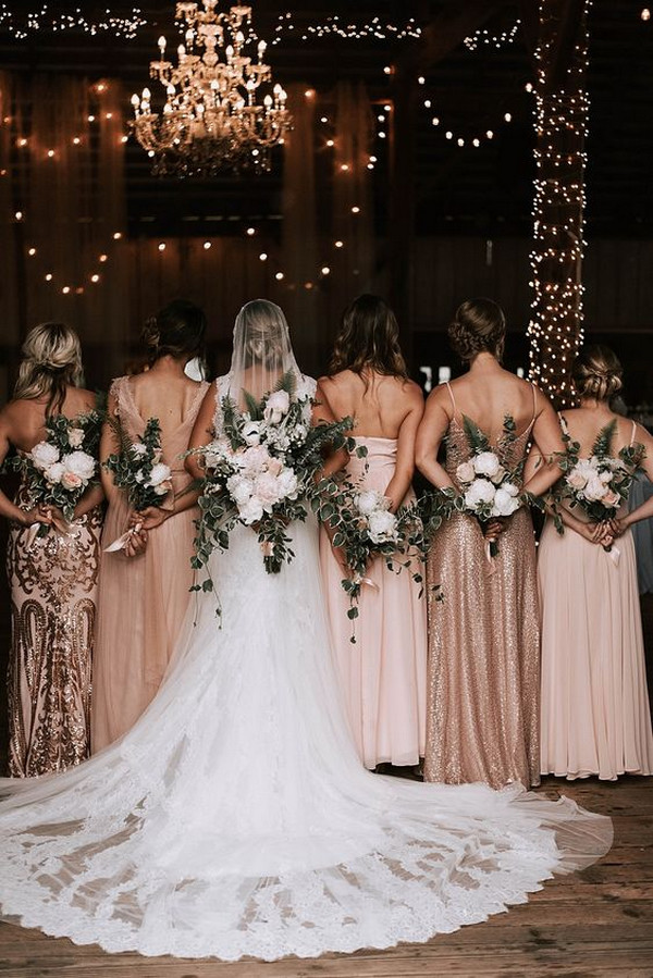 rose gold bridesmaid dresses bridal party photo ideas