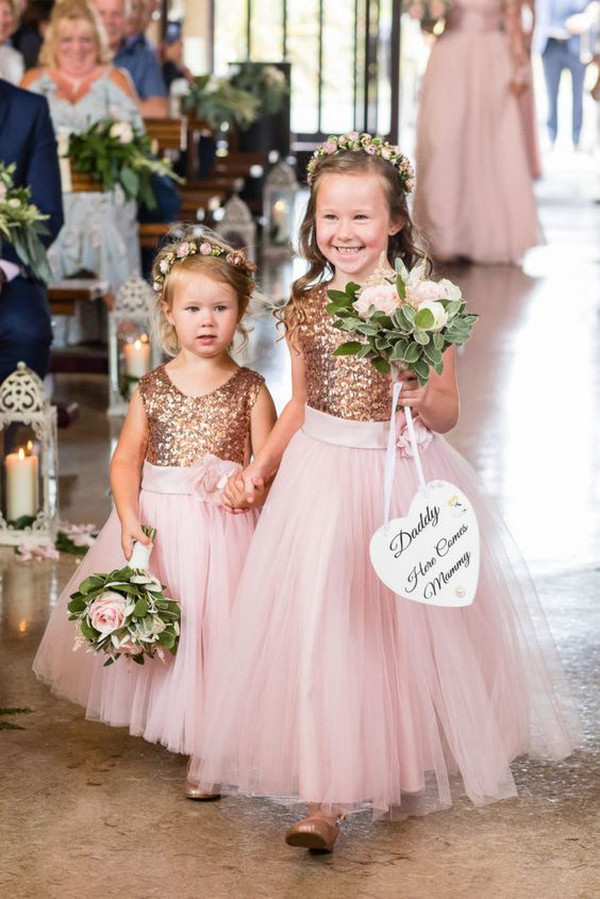 rose gold sequins flower girl dresses