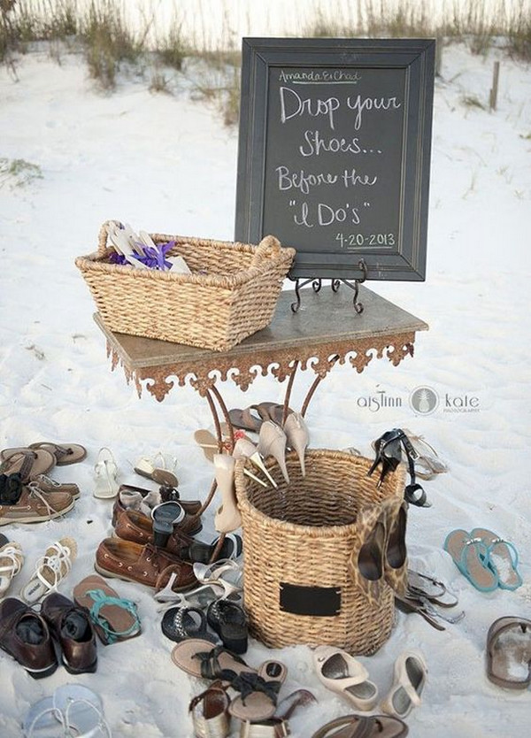 shoes station for beach wedding ideas