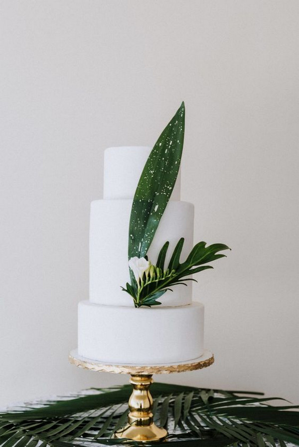 simple elegant tropical wedding cake
