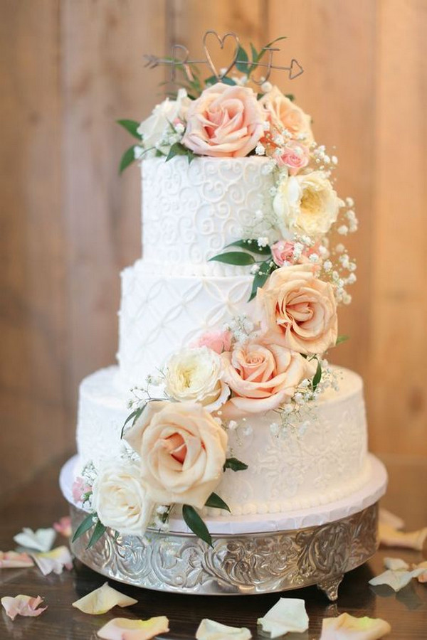 spring summer floral wedding cake
