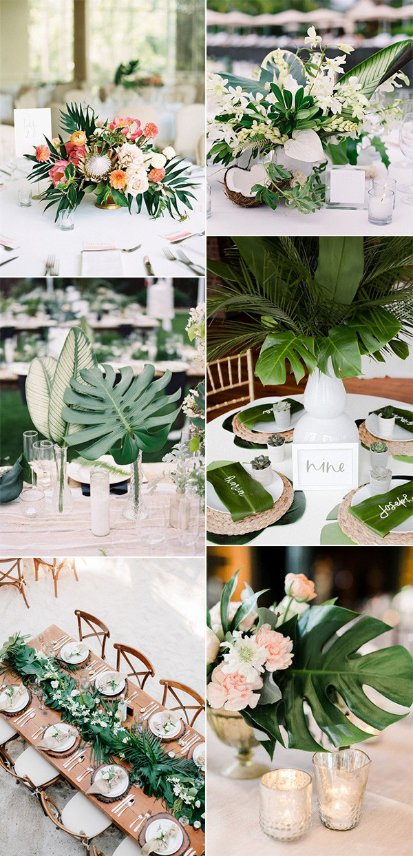 trending tropical themed wedding centerpieces