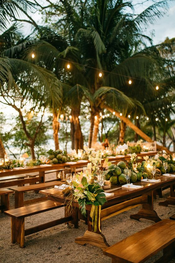 tropical beach wedding reception