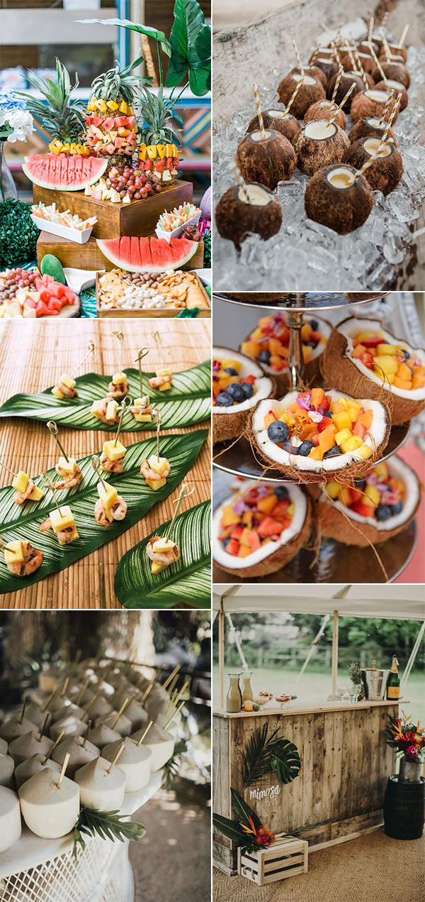 tropical themed wedding food and drink ideas