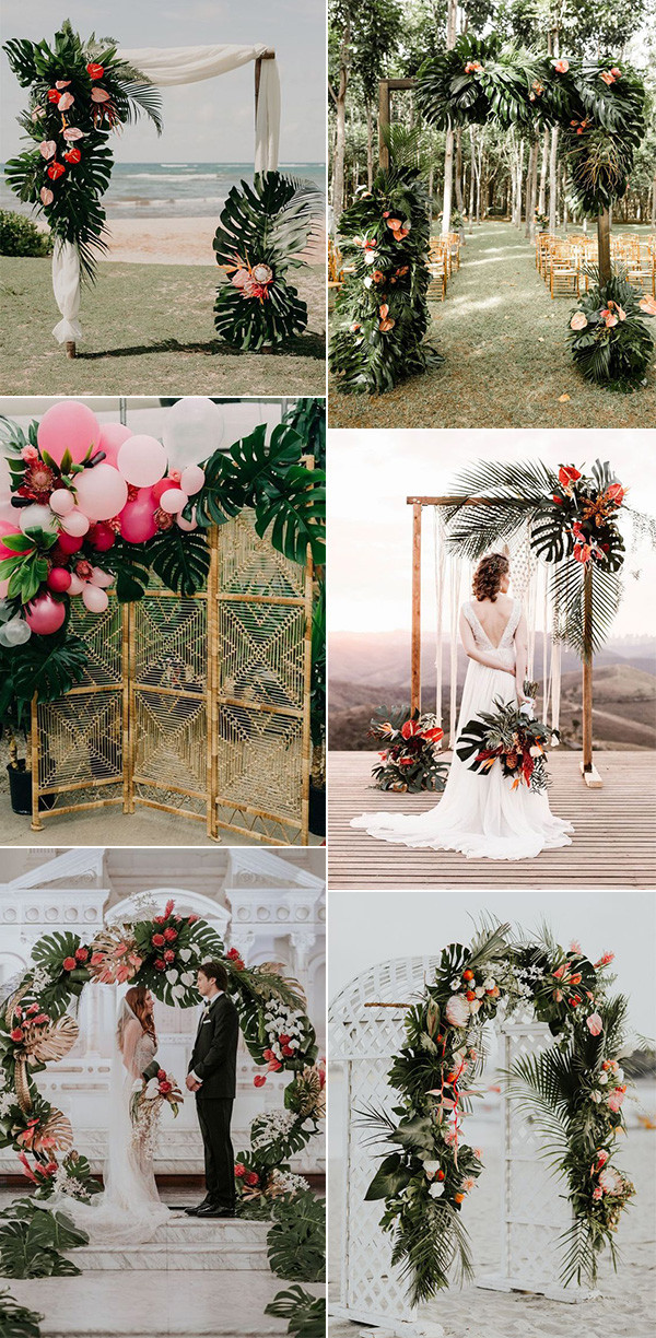 tropical wedding ceremony arch ideas for 2020
