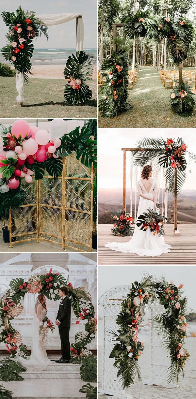 tropical wedding ceremony arch ideas for 2020