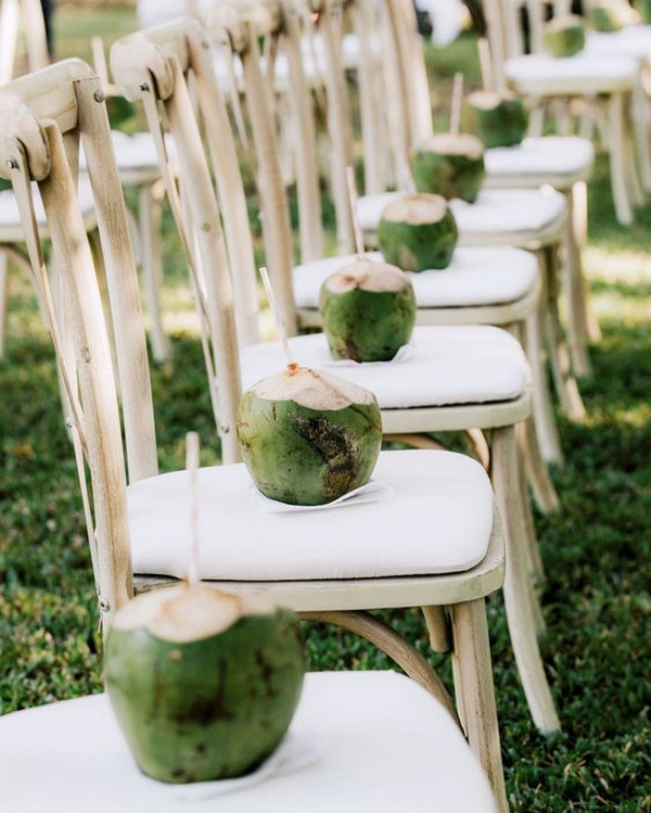 tropical wedding ideas coconut water on each chair