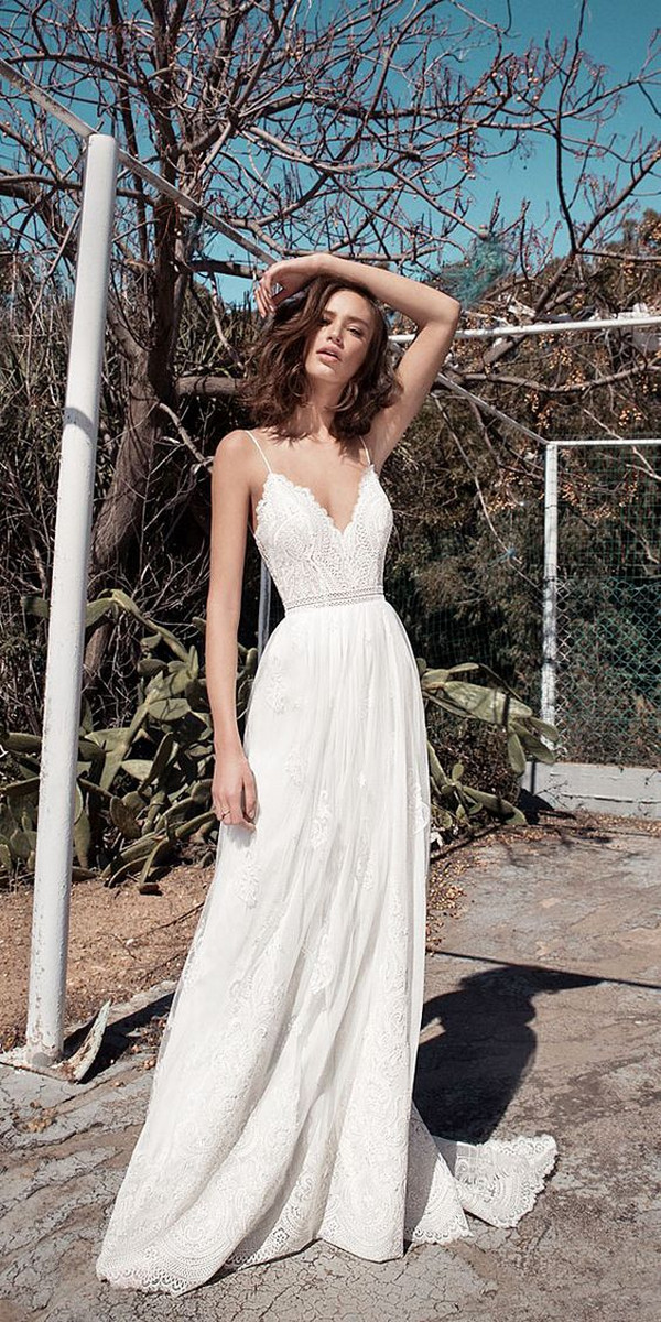 v neck spaghetti beach wedding dress